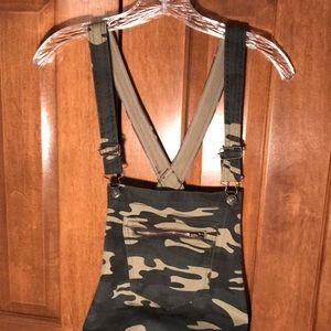 Camo Skinny Jean Overalls with Pockets